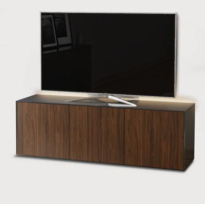 High Gloss Grey and Walnut Effect TV Cabinet 150cm with Wireless Phone Charging and Remote Control Eye