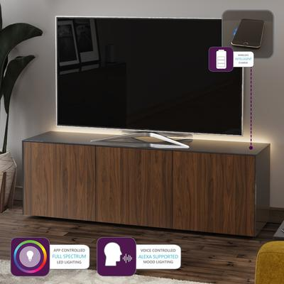 High Gloss Grey and Walnut Effect TV Cabinet 150cm with Wireless Phone Charging and Remote Control Eye image 2