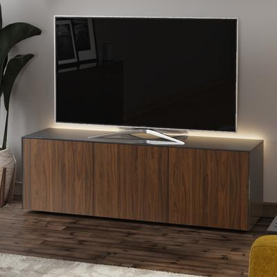 High Gloss Grey and Walnut Effect TV Cabinet 150cm with Wireless Phone Charging and Remote Control Eye image 3