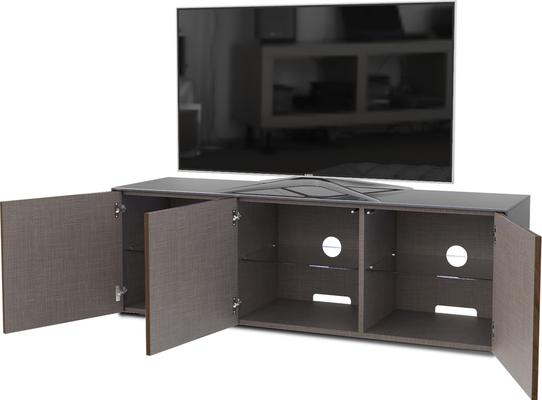 High Gloss Grey and Walnut Effect TV Cabinet 150cm with Wireless Phone Charging and Remote Control Eye image 5