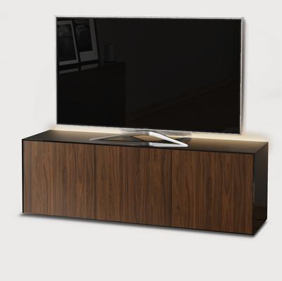 High Gloss Black and Walnut Effect TV Cabinet 150cm with Wireless Phone Charging, LED Mood Lighting and Remote Control Eye