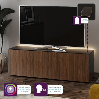 High Gloss Black and Walnut Effect TV Cabinet 150cm with Wireless Phone Charging, LED Mood Lighting and Remote Control Eye image 2