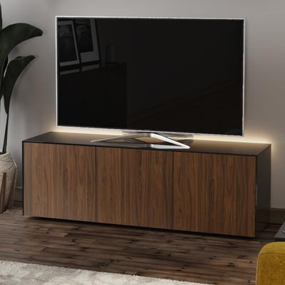 High Gloss Black and Walnut Effect TV Cabinet 150cm with Wireless Phone Charging, LED Mood Lighting and Remote Control Eye image 3