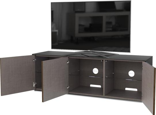 High Gloss Black and Walnut Effect TV Cabinet 150cm with Wireless Phone Charging, LED Mood Lighting and Remote Control Eye image 5