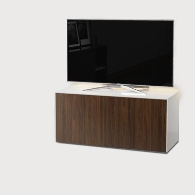 High Gloss White and Walnut Effect TV Cabinet 110cm with Wireless Phone Charging, LED Mood Lighting and Remote Control Eye