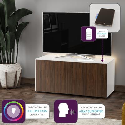 High Gloss White and Walnut Effect TV Cabinet 110cm with Wireless Phone Charging, LED Mood Lighting and Remote Control Eye image 2