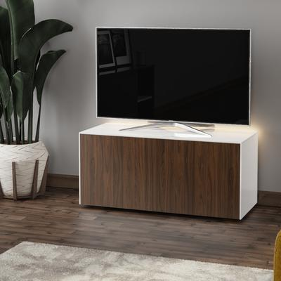 High Gloss White and Walnut Effect TV Cabinet 110cm with Wireless Phone Charging, LED Mood Lighting and Remote Control Eye image 3