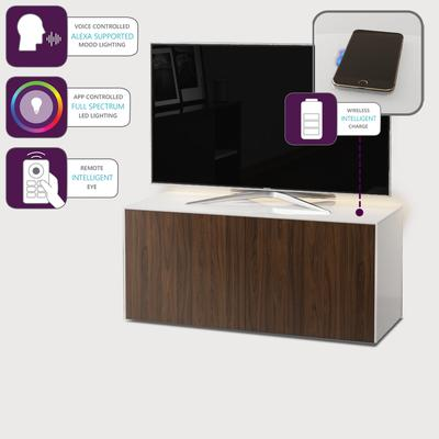 High Gloss White and Walnut Effect TV Cabinet 110cm with Wireless Phone Charging, LED Mood Lighting and Remote Control Eye image 4