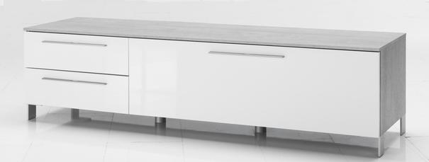 Modica Low Sideboard  and TV Stand -  White Gloss and Grey Finish