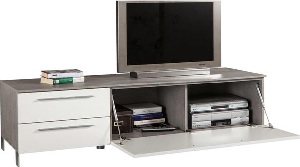 Modica Low Sideboard  and TV Stand -  White Gloss and Grey Finish image 3