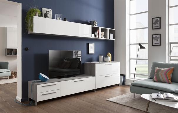 Modica Low Sideboard  and TV Stand -  White Gloss and Grey Finish image 4