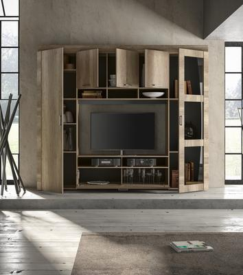Livorno Storage and TV Wall Unit San Remo Oak with LED Spotlights image 3