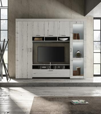 Livorno Storage and TV Wall Unit White Oak Finish with LED Spotlights image 2