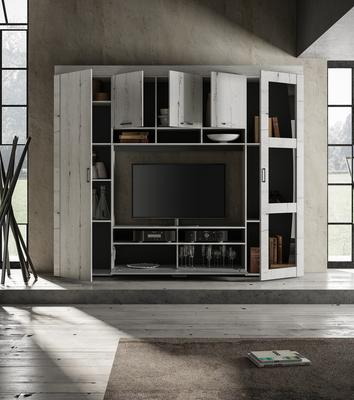 Livorno Storage and TV Wall Unit White Oak Finish with LED Spotlights image 3
