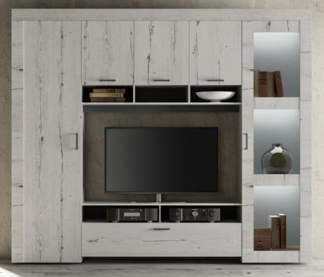 Livorno Storage and TV Wall Unit White Oak Finish with LED Spotlights