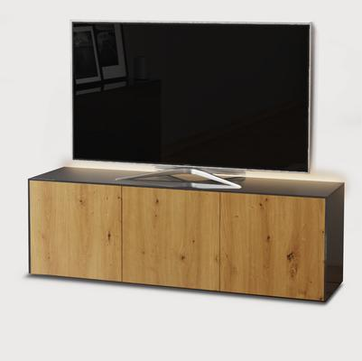 High Gloss Grey and Oak Effect TV Cabinet 150cm with Wireless Phone Charging, LED Mood Lighting and Remote Control Eye