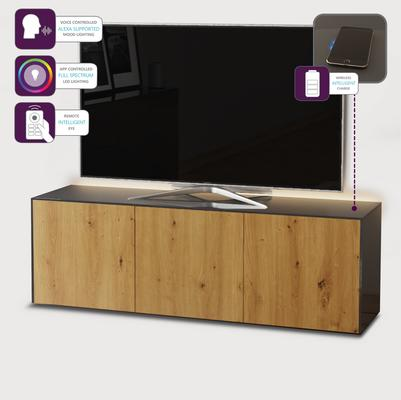 High Gloss Grey and Oak Effect TV Cabinet 150cm with Wireless Phone Charging, LED Mood Lighting and Remote Control Eye image 2