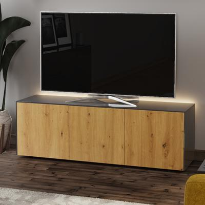High Gloss Grey and Oak Effect TV Cabinet 150cm with Wireless Phone Charging, LED Mood Lighting and Remote Control Eye image 3