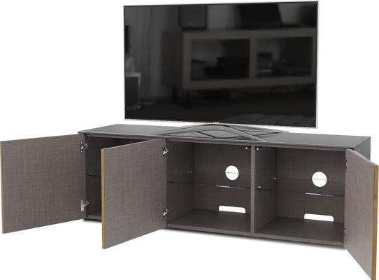 High Gloss Grey and Oak Effect TV Cabinet 150cm with Wireless Phone Charging, LED Mood Lighting and Remote Control Eye image 4