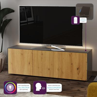 High Gloss Grey and Oak Effect TV Cabinet 150cm with Wireless Phone Charging, LED Mood Lighting and Remote Control Eye image 6