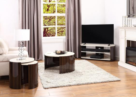 Milan Curved TV Stand High Gloss Walnut and Cream JF901 image 2