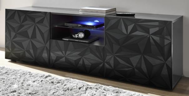 Brescia Large TV Unit Gloss Anthracite with Grey Stencil and LED Light