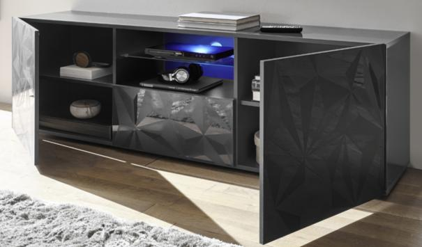 Brescia Large TV Unit Gloss Anthracite with Grey Stencil and LED Light image 2