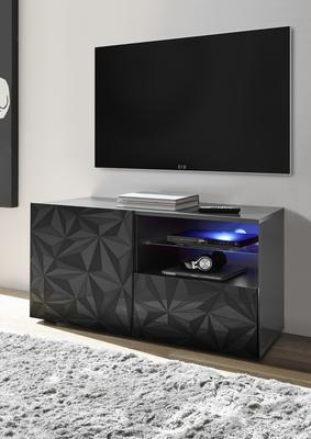 Brescia Small TV Unit - Gloss Anthracite with Grey Stencil with optional LED Spotlight