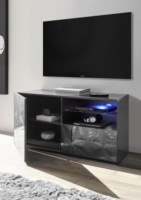 Brescia Small TV Unit - Gloss Anthracite with Grey Stencil with optional LED Spotlight image 2