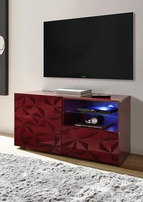 Brescia Small TV Unit with LED Spotlight - Gloss Red with Grey Stencil