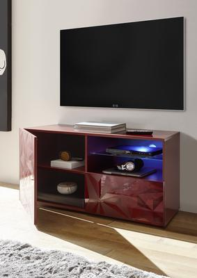 Brescia Small TV Unit with LED Spotlight - Gloss Red with Grey Stencil image 2
