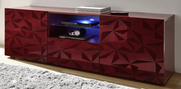 Brescia Large TV Unit with LED Spotlight - Gloss Red with Grey Stencil