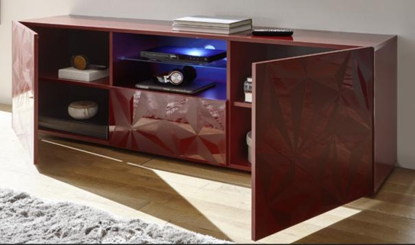 Brescia Large TV Unit with LED Spotlight - Gloss Red with Grey Stencil image 2