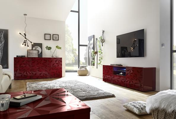 Brescia Large TV Unit with LED Spotlight - Gloss Red with Grey Stencil image 3