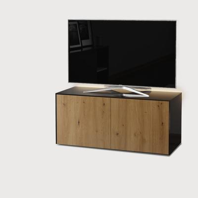 High Gloss Black and Oak TV Cabinet 110cm with Wireless Phone Charging and Remote Control Eye