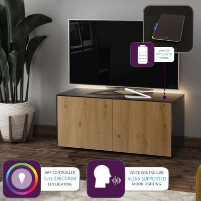 High Gloss Black and Oak TV Cabinet 110cm with Wireless Phone Charging and Remote Control Eye image 2