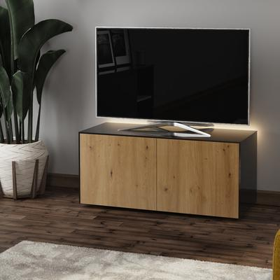 High Gloss Black and Oak TV Cabinet 110cm with Wireless Phone Charging and Remote Control Eye image 3