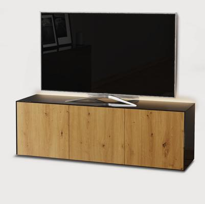 High Gloss Black and Oak TV Cabinet 150cm with Wireless Phone Charging and Remote Control Eye