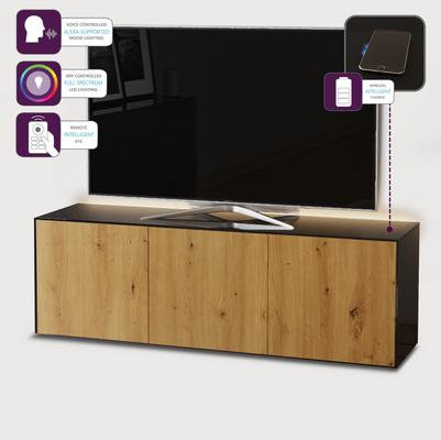 High Gloss Black and Oak TV Cabinet 150cm with Wireless Phone Charging and Remote Control Eye image 4