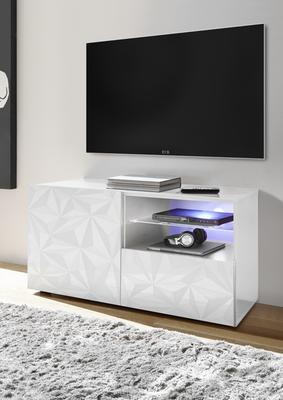 Brescia Small TV Unit with LED Spotlight - Gloss White with Grey Stencil