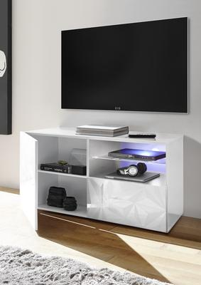 Brescia Small TV Unit with LED Spotlight - Gloss White with Grey Stencil image 2