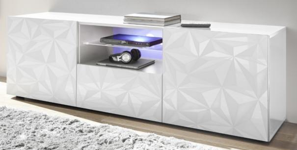 Brescia Large TV Unit Gloss White with Grey Stencil with LED Spotlight