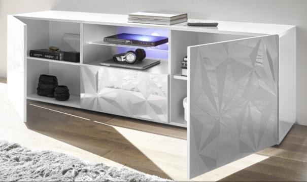 Brescia Large TV Unit Gloss White with Grey Stencil with LED Spotlight image 2