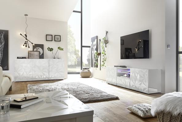 Brescia Large TV Unit Gloss White with Grey Stencil with LED Spotlight image 3