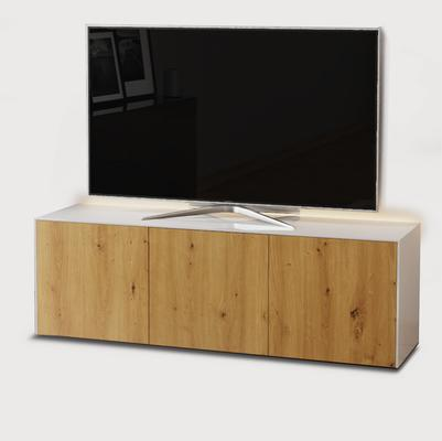 High Gloss White and Oak Effect TV Cabinet 150cm with Wireless Phone Charging, LED Mood Lighting and Remote Control Eye