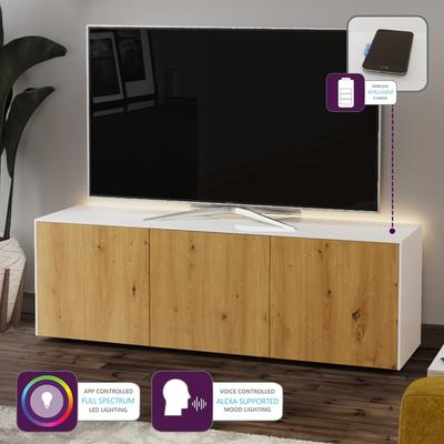 High Gloss White and Oak Effect TV Cabinet 150cm with Wireless Phone Charging, LED Mood Lighting and Remote Control Eye image 2