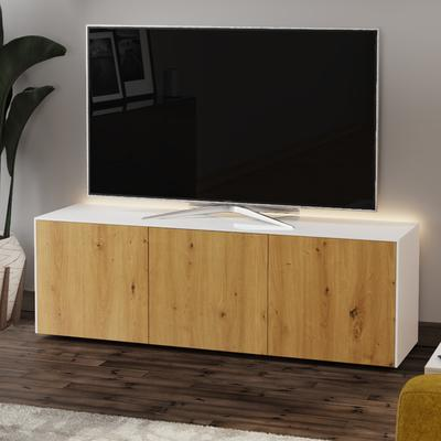 High Gloss White and Oak Effect TV Cabinet 150cm with Wireless Phone Charging, LED Mood Lighting and Remote Control Eye image 3