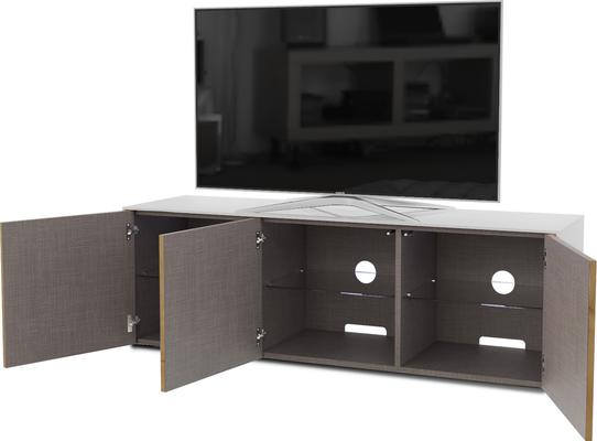 High Gloss White and Oak Effect TV Cabinet 150cm with Wireless Phone Charging, LED Mood Lighting and Remote Control Eye image 5