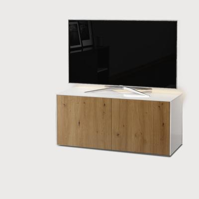 High Gloss White and Oak Effect TV Cabinet 110cm with Wireless Phone Charging, LED Mood Lighting and Remote Control Eye