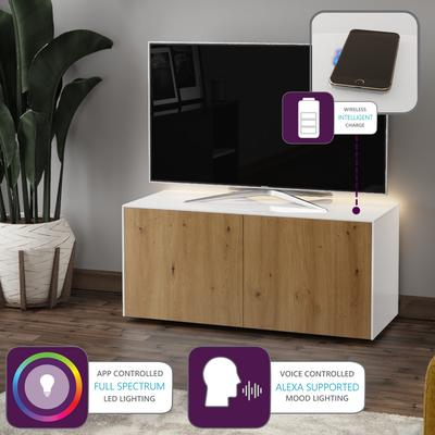 High Gloss White and Oak Effect TV Cabinet 110cm with Wireless Phone Charging, LED Mood Lighting and Remote Control Eye image 2
